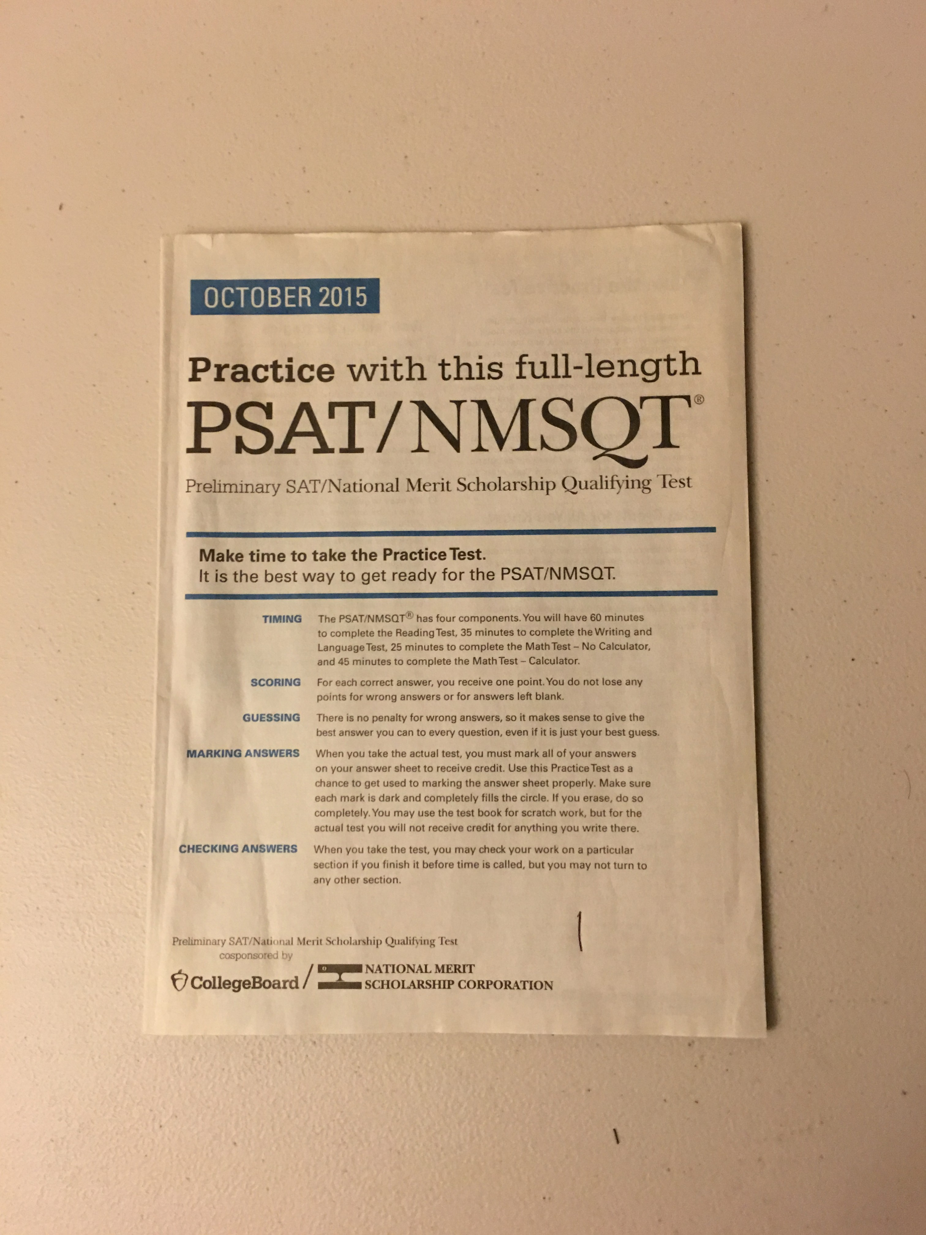 ... PSAT practice test prepared students for the Wednesday, Oct. 14 PSAT