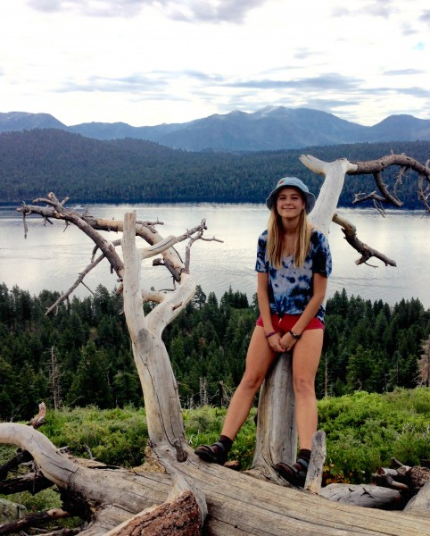 Junior Tess McDaniel takes a break while hiking in South Lake Tahoe this past summer.