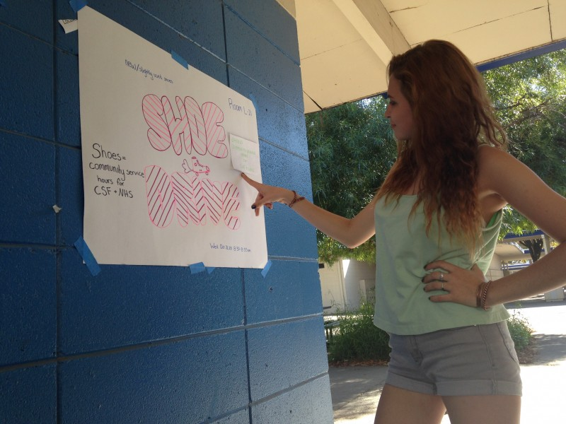Junior Emily Eigenheer looks at one of the various Freedom From Hunger shoe drive posters hung around the DHS campus.