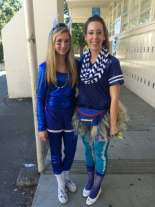 Junior Abbie DeWit and her teacher Ellie Michel show off their BDP by going all out for Freakishly Blue Friday.