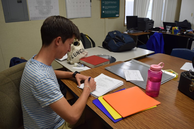 Hunter Morse signs off on club applications for the 2015-2016 school year.