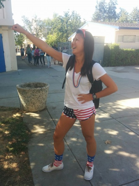 Junior Annabelle Zhou shows off her school spirit.