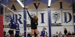 Women's volleyball celebrates victory on Senior Night
