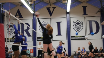 Women's volleyball celebrates victory on Senior Night