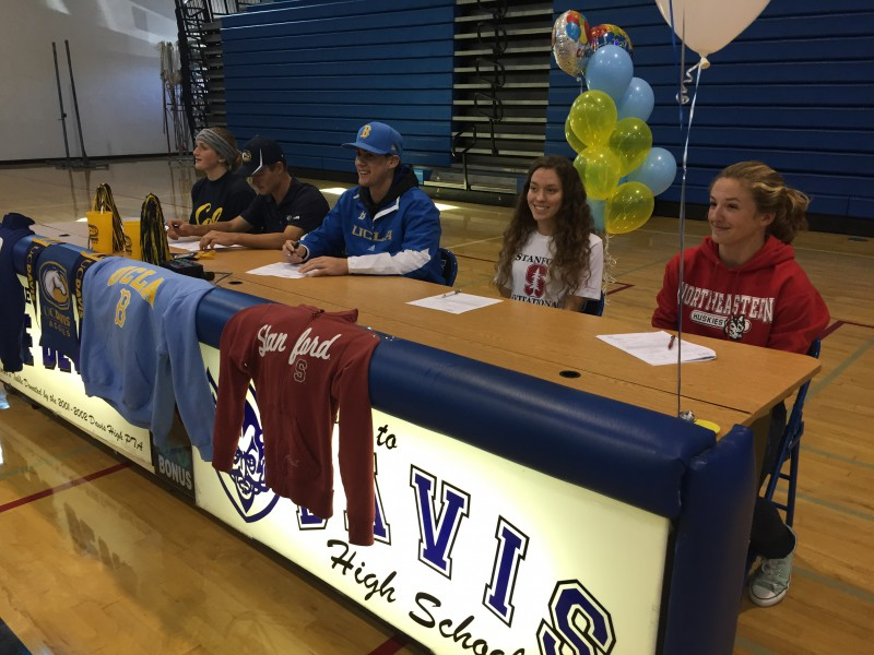 From left: Chenoa Devine, Andrew Arnheiter, Ryan Kreidler, Fiona O'Keeffe and Hannah Siemer commit to college athletics.