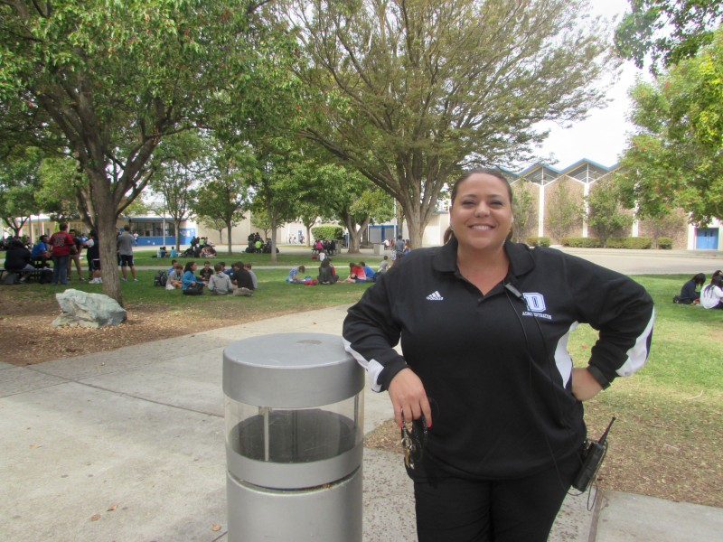 Assistant Principal Mary Lynch poses during campus supervision. Lynch keeps an eye on the quad most Mondays, Wednesdays and Fridays at lunch.