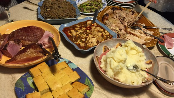 Thanksgiving dinners for families who have roots in other countries often have a mix of Thanksgiving dishes like traditional mashed potatoes as well as a mapo tofu dish.