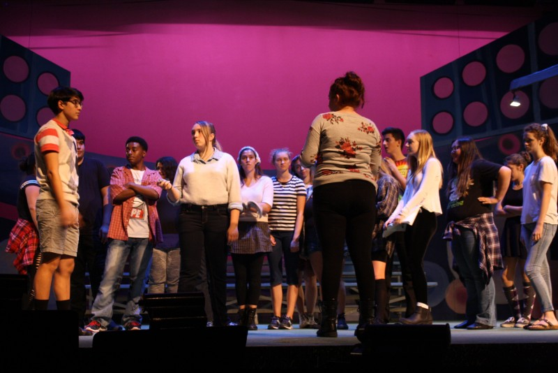 The cast runs through the entire show in preparation for all the weekend performances. Courtesy photo by Lilja Jelks.