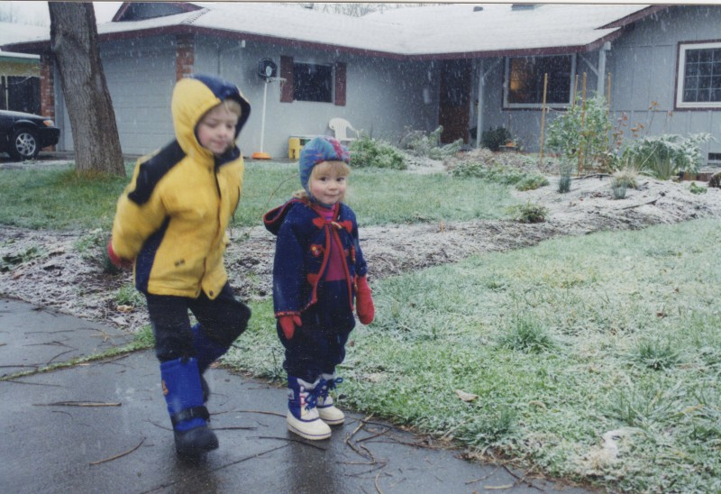 Claire Bachand and her brother Nicholas Bachand play in the snow on January 28th, 2002. Courtesy photo by Claire Bachand.