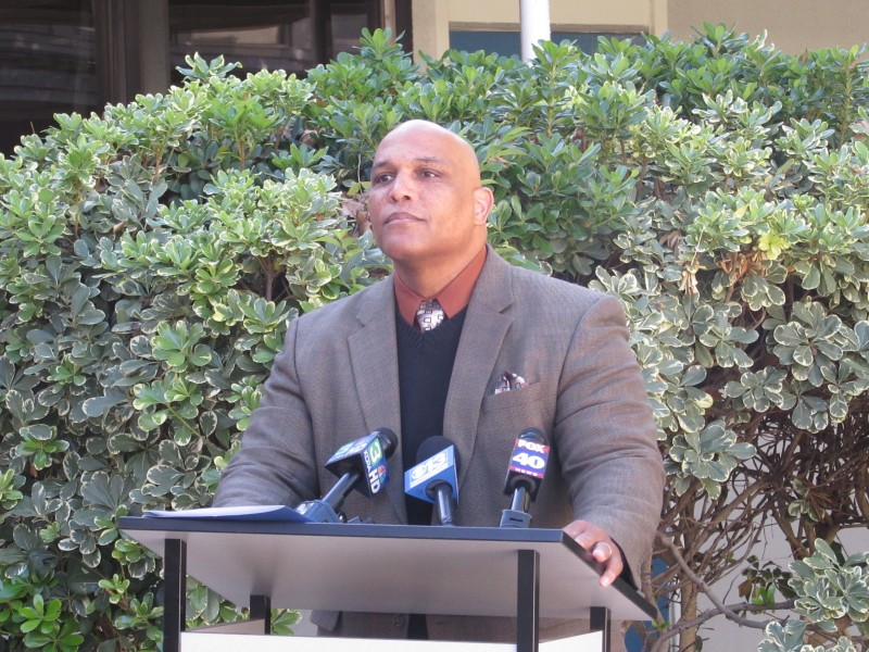 Superintendent Roberson speaks at a press conference addressing the arrest of teacher John O'Brien on Nov. 17, 2014. Roberson was offered a job by the Glendale Unified School District Wednesday, Jan. 27. (Photo: K. Browning)
