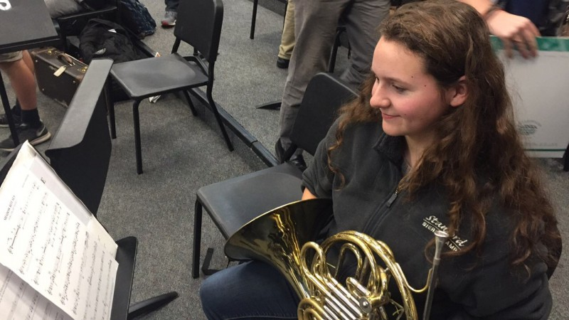 Senior Hannah Richter rehearses with the Symphonic Band during fifth period. Richter has been a member of this band since she was a sophomore.
