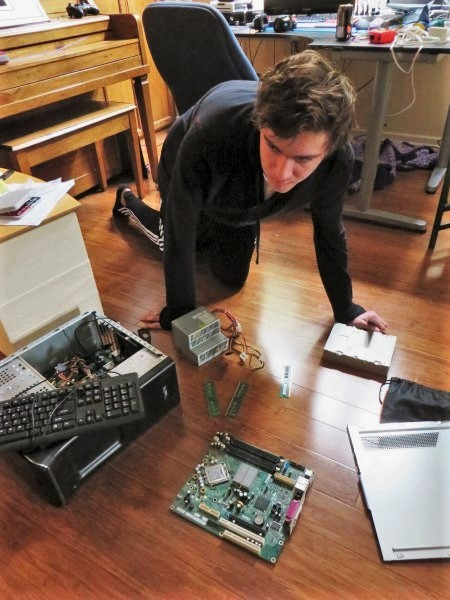 Liam Schroth built his own computer from parts he got for Christmas. He put the computer in working condition in four hours. (Courtesy photo: L. Schroth)
