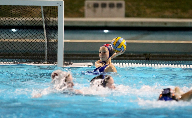 Freshman Emily Blackwell plays goalkeeper for the women's varsity water polo team.