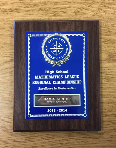 Davis High has been awarded plaques by the California Mathematics League in previous years including from 2013-2014. (Photo: C. Kim)