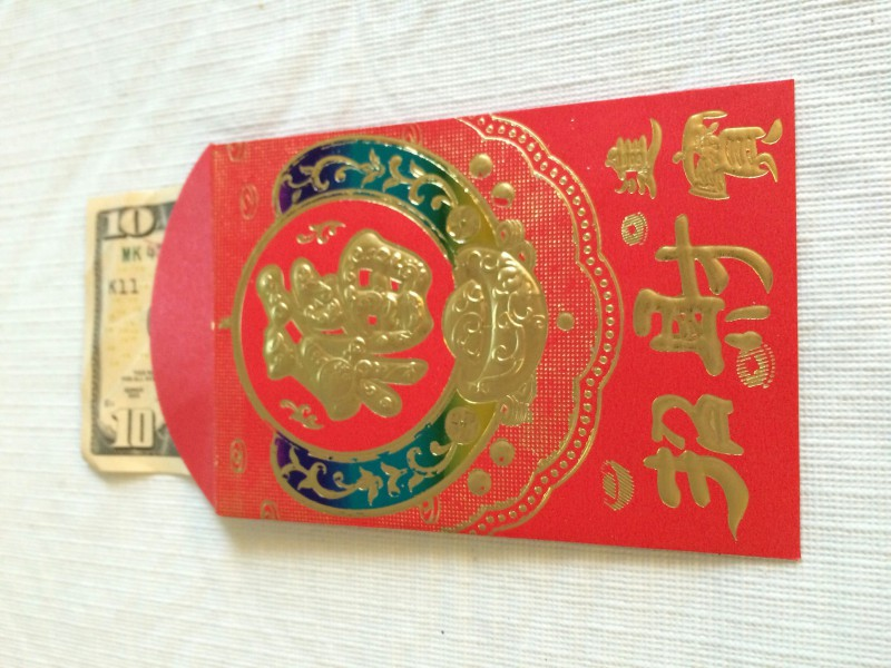 A red envelope with $10.