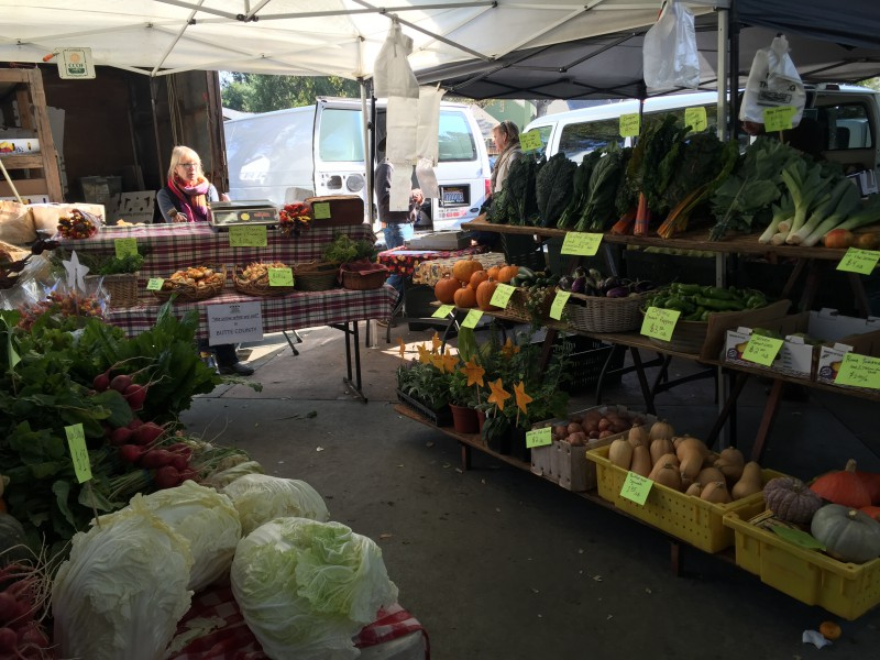 Many different types of fruits and vegetables are sold at the Davis Farmers Market every Saturday and Wednesday.