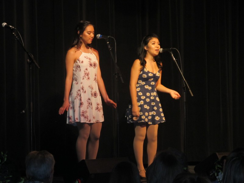 Juniors Anna Young and Anna Gao perform their duet at the Cabaret dinner on Feb. 7.