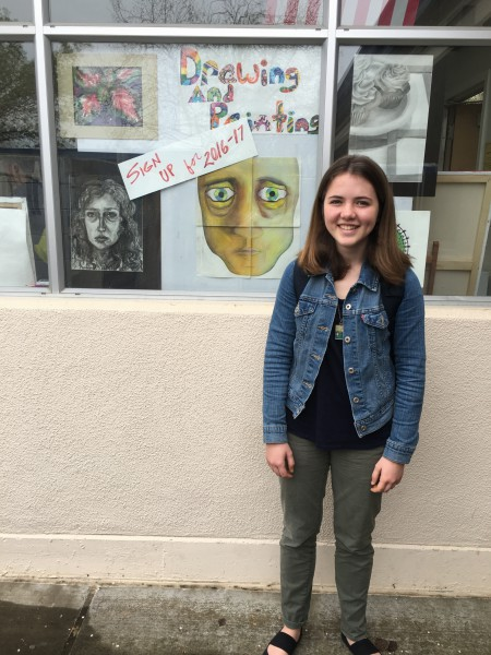 Sophomore Anna Morse signed up for the drawing and painting class at Davis High to continue her passion for art (Photo: I. Sogutugil).