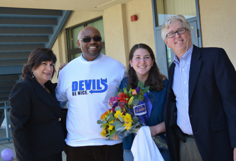 "Senior Gabi Ramer was the winner of the ""Devils Be Nice"" event on Monday, Feb. 29. She is known throughout the Davis High community for being kind and helpful. (Photo C. Bold)"