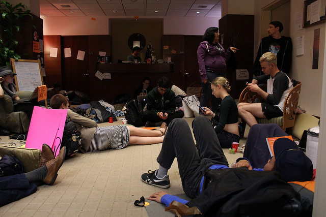 Students settle in for the night on Wednesday, March 16. The protesters did not intend to occupy Katehi's office when they arrived on Friday, March 11, but they decided to stay when the chancellor refused to meet with them. (Photo: K. Sturm)
