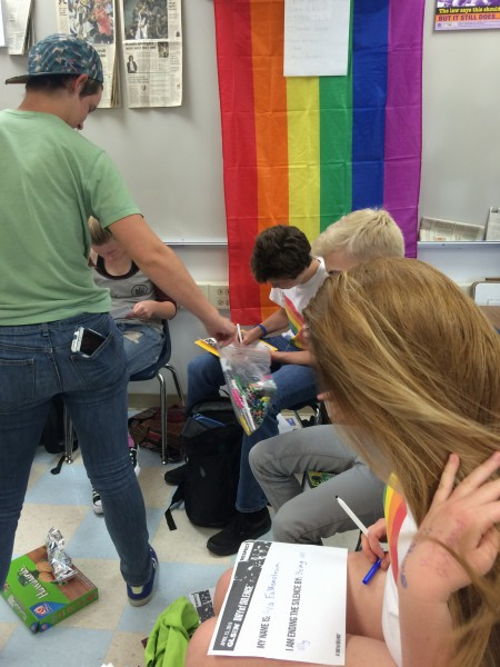 During the Gay-Straight Alliance (GSA) meeting April 8, members write about how they are ending the silence. GSA meetings take place on Friday's in L-20.