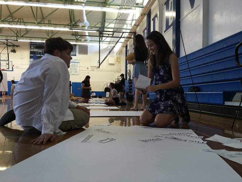 RSJ students prepare for the symposium by cutting out and pasting their information and graphs and other visuals to poster boards.
