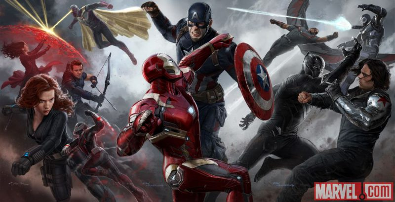 """Ryan Meinerding and Andy Park's concept art for """"Captain America: Civil War"""". Credit to Marvel.com"""