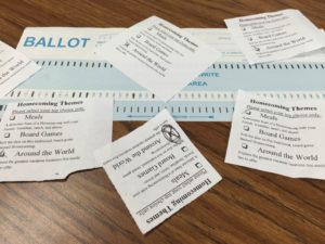 Ballots for the homecoming theme (Photo: A. Hu).