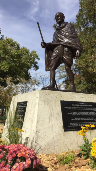 The Ghandi statue was unveiled on October 2nd in central park