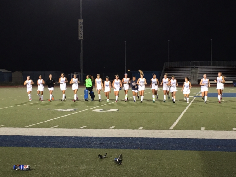 Women's varsity field hockey team cools down after 2-1 victory over Gilroy.