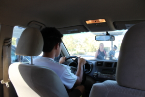 Junior Rui Qian Sun exits the DHS parking lot on his way back home to Sacramento.