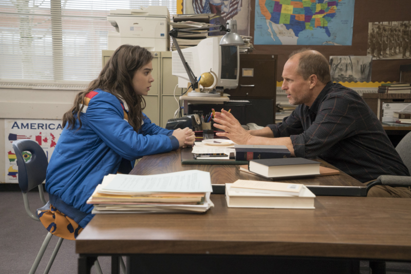 The relationship between Nadine (Hallie Steinfeld) and her history teacher (Woody Harrelson) is both typical and innovative at the same time-- much like the rest of the movie. (Courtesy: STX entertainment website)