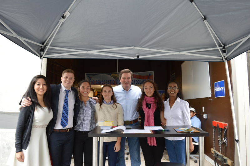 rom left to right, campaign managers Saira Delgado and Patrick Curzon, junior Kyra Lee, senior Kate Miller, Congressman John Garamendi and seniors Emily Komessar and Zainub Balla gather together on Oct. 29 at a day of action, a day in which volunteers come in and phone bank. Lee, Miller, Komessar and Balla were put in charge of the event. (Courtesy: Jennifer Lee)