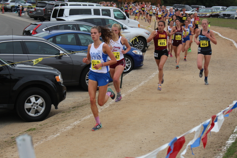 Junior Olivia O'Keeffe leads the pack, winning first place individually. (Courtesy: K. Browning)