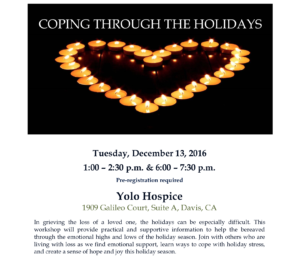 Yolo Hospice will hold a free holiday grief workshop for grieving people of all ages on December 14. (Courtesy: Rosa Hernandez)