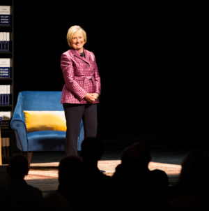 Hillary Clinton speaks to supporters at the Mondavi Center