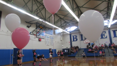 Women's volleyball wins at Breast Cancer Awareness Night