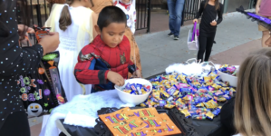 Kids collect candy on Davis Treat Trail