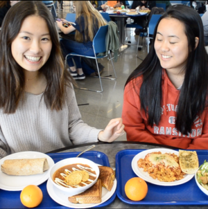 Annie and Breana try All Student Center lunch