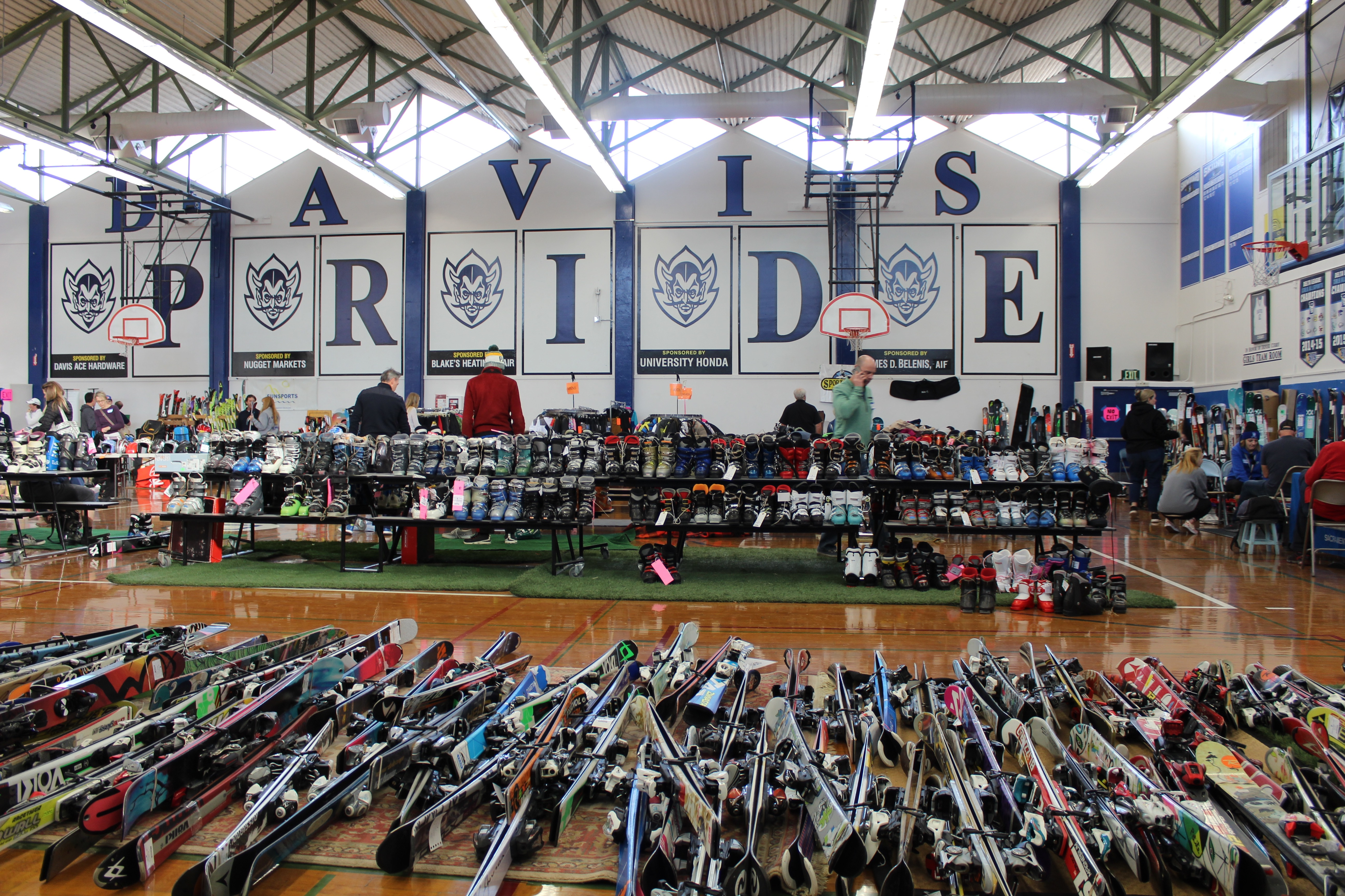 The Davis High Ski Swap offers a large variety of new and used ski equipment for sale