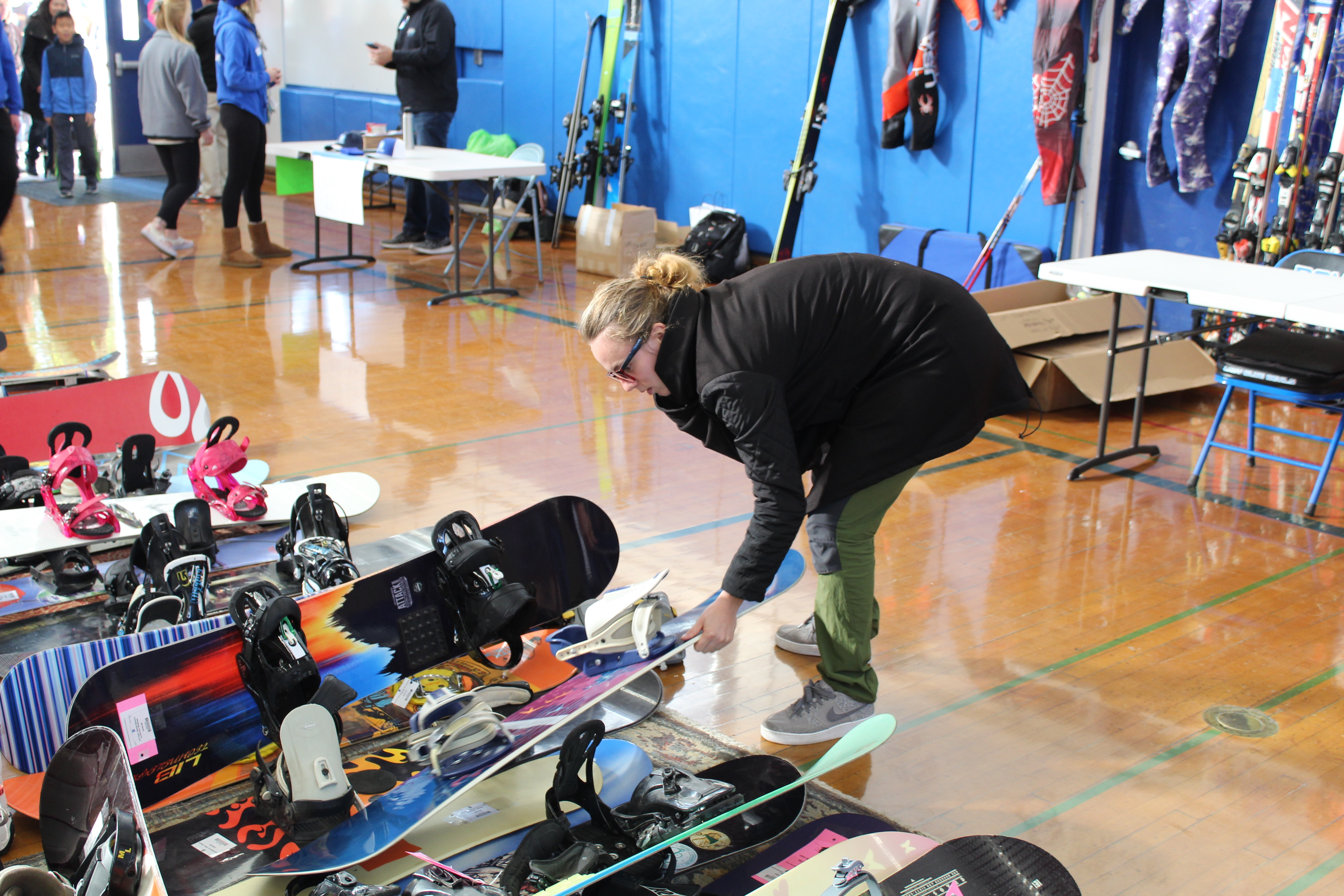 Snowboards are a very popular item at the ski swap.