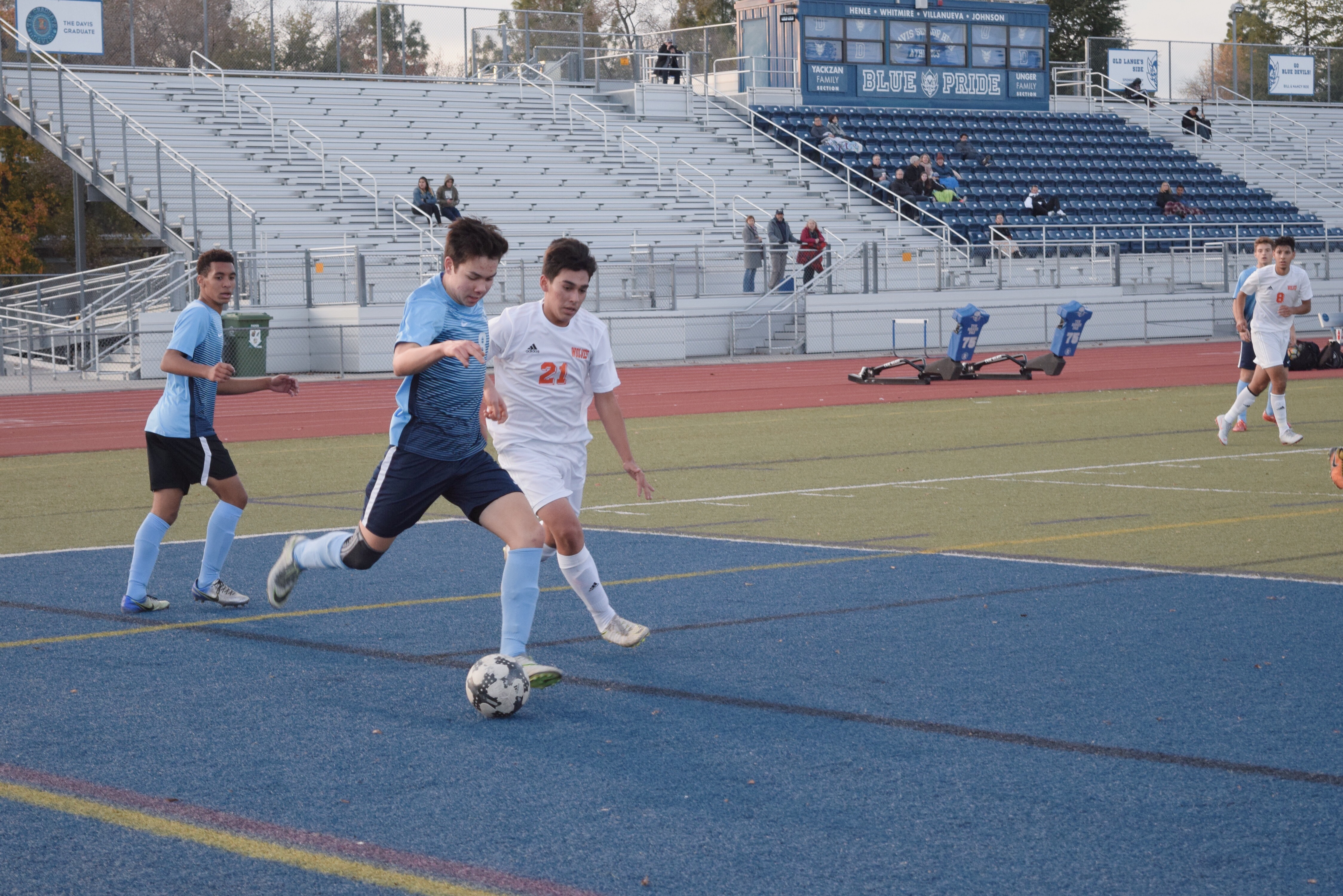 Senior Thomas Venner prepares to clear the ball.