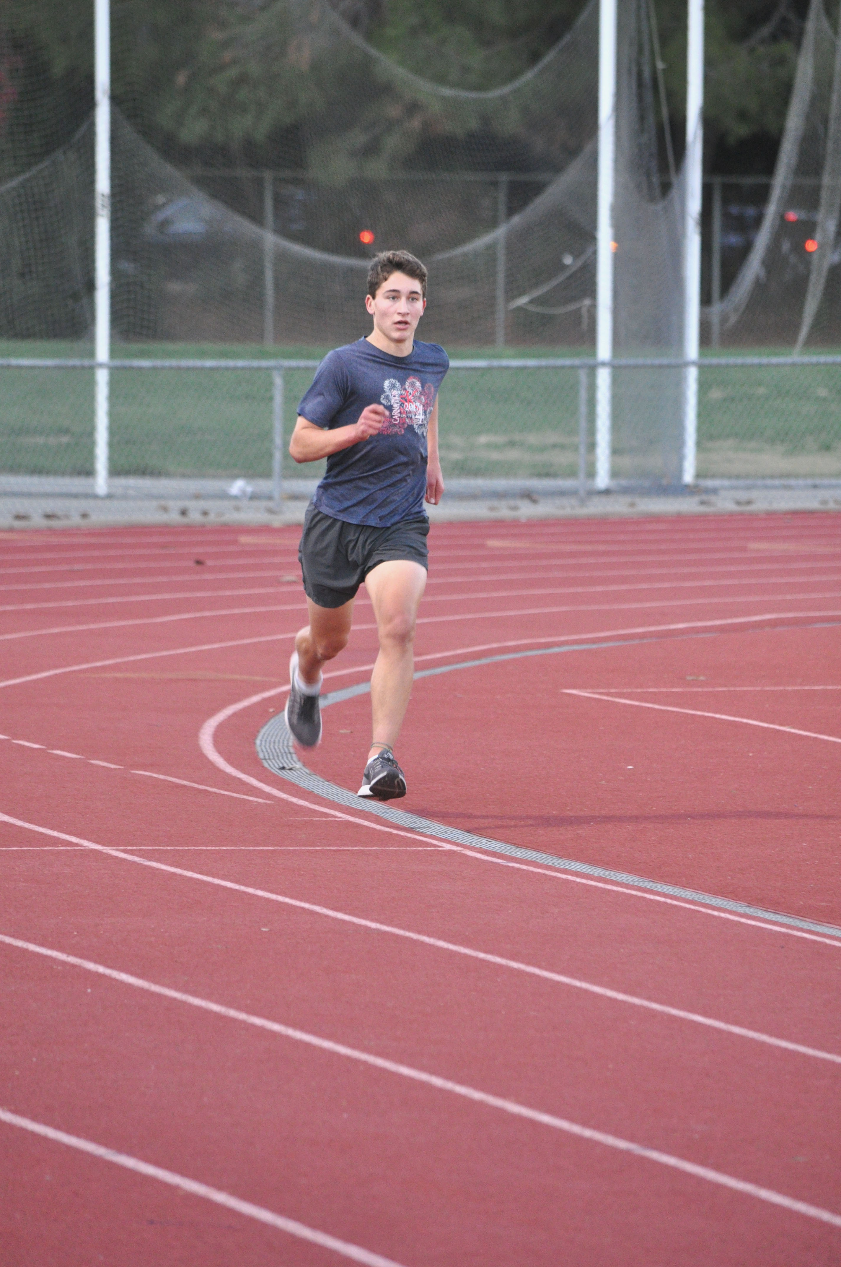 Junior James Leistikow rounds the corner during a workout.