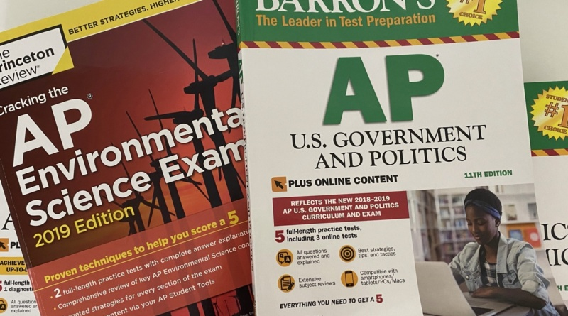 The Princeston Review's AP Environmental Science prep book and a Barron's AP U.S. Government and Politics prep book