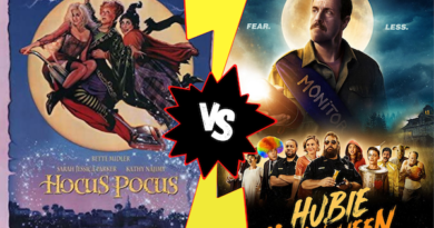 The classic Hocus Pocus movie poster is displayed next to the Hubie Halloween movie poster with a comic book style versus symbol between them. Which movie is better?