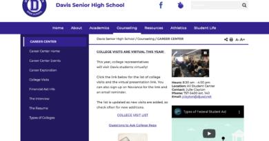 Center Center page of the Davis High website