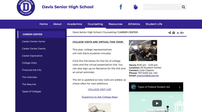 Center Center page of the Davis High website