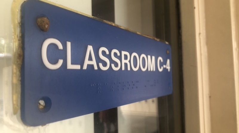"The photo shows a sign that reads ""classroom C-4"" which is a special education classroom at Davis High."