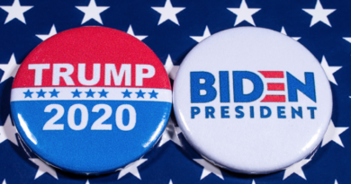 """Two buttons reading """"Trump 2020"""" and """"Biden president"""" displayed on top a blue tablecloth with white stars"""