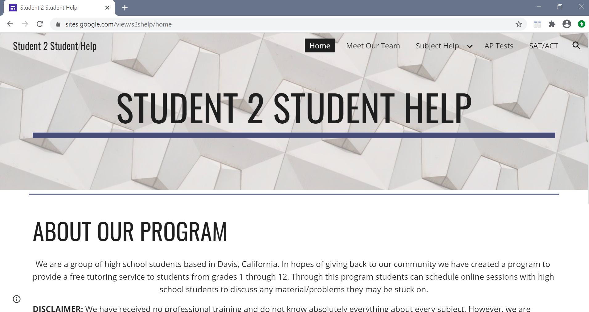 Student 2 Student Help website homepage